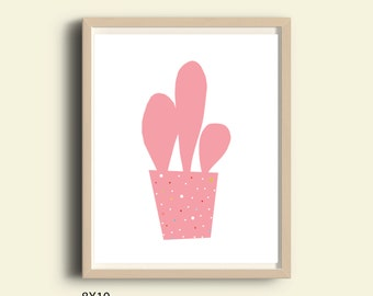 Nursery decor, cactus print, printable art, instant download, wall decor, kids room decor, illustration print, pink print, digital  8 X 10