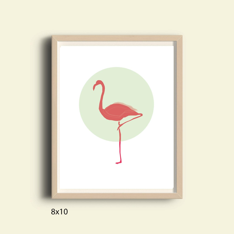 Digital Pink Flamingo Print Flamingo Wall Decor Home Decor