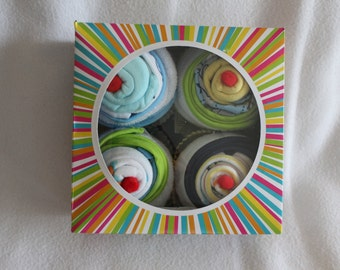 Deluxe Boys Onesie Cupcake Baby Shower Gift Set