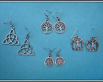 Historical Earrings: Celtic Knot, Science Tree, Vitruvio Man, Triskel