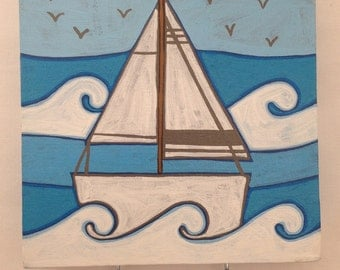 Hand painted boat canvas key/cup hook