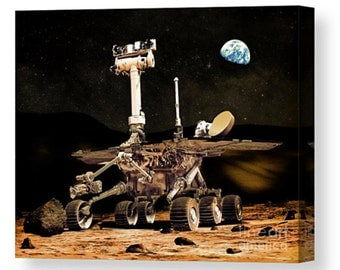 Digital art Canvas of the mars rover nasa space earth planet america american robot photography solar system universe giclee photo present
