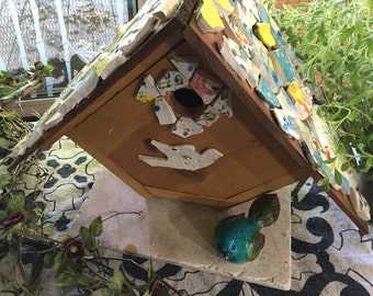 Handmade Wood and Ceramic Bird House