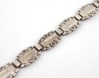 "Vintage Sterling Silver Forget Me Knot WWII Sweetheart Charm Bracelet 6"""