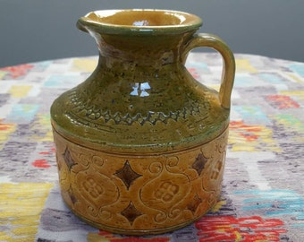 Bitossi: Vintage Italian Ceramic Pitcher/Jug/Vase  in Yellow and Mustard with Incised Moorish style Pattern