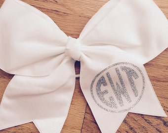 White monogrammed hair bow - free shipping!