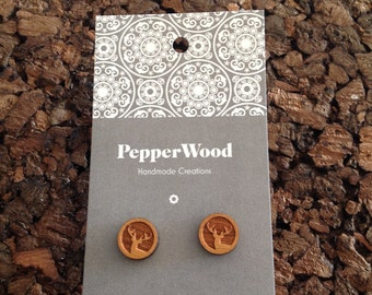 Wooden deer laser cut 12mm earrings