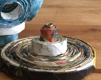 Blue, white and gold bowl for decoration made from magazines