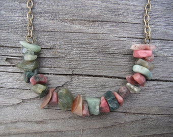 Natural rough polished stone necklace - brass-toned chain, earthy pink and green stones