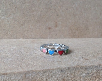"Vintage Danish Sterling Silver & Enamel ""Circle Of Hearts"" Ring Sz. 8"