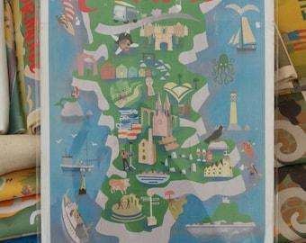A4 wood print : Cornwall