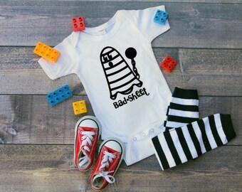 Bad sheet infant bodysuit, Halloween, ghost, bad news, holiday pun, pun, halloween costume, joke, funny infant shirt, comedy bodysuit