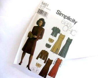 Sewing Pattern Simplicity 5451 Easy Chic dress jumper jacket and purse