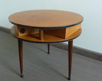 Former small worker tripod round, sewing box, 1960s vintage