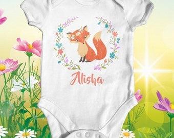Fox Customised Baby Bodysuit | Animal Baby Bodysuit | Cute Baby Clothes | Fox Baby Bodysuit | Baby Gift | Unisex Baby Clothes