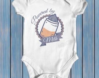 Powered By Milk baby bodysuit | baby boy clothes | baby shower gift | funny baby bodysuit | newborn baby clothes | cute baby clothes