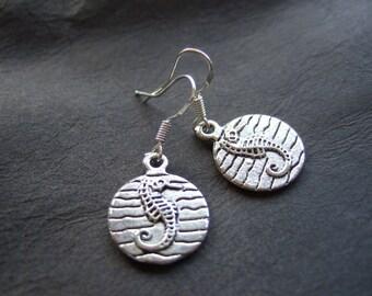 Seahorse earrings, silver plated seahorse and hooks, petite sea horse earrings, small nautical earrings, cute sea horse charm earrings, gift