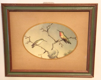 Vintage wood frame with hummingbird print