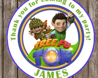 Tree Fu Tom  Thank You Stickers or Favor TAGS