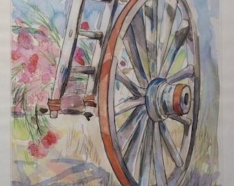 Cart Wheel print, 42x56cm, Cart II by Linda Fay Powell, rare prints