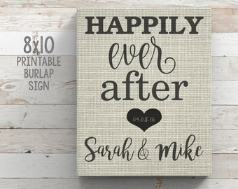 """Printable Burlap Sign """"Happily Ever After"""" Custom Burlap Wall Art WEDDING gift Bridal Shower gift Anniversary Gift Personalized Couples Gift"""