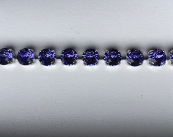 Swarovski SS39 crystal necklace, Silver & Tanzanite or Light Amethyst Rivoli