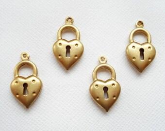 4 Raw Brass 3D Heart Padlock Charms