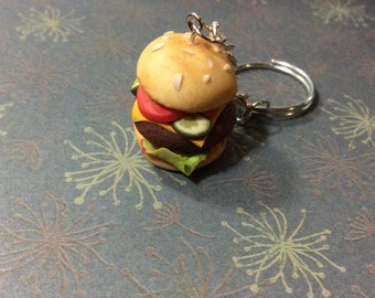 Burger with cheese keychain realistic mini food , necklace or with lobster clasp , comes in a gift box with tissue paper!