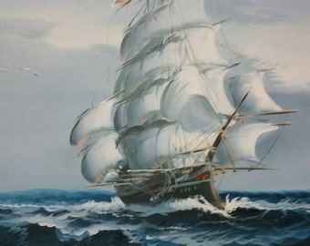 Large Vintage Oil on Canvas Nautical Scene by C. Williams