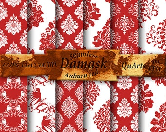 Digital paper - Damask Auburn red