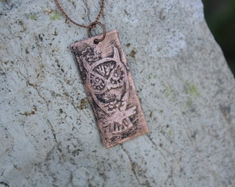 Owl Etched Copper Necklace