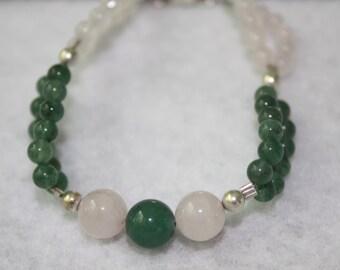 Rose Quartz and Moss Agate Bracelet