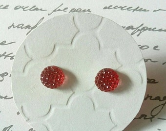 ON SALE Raspberry Red Multi Faceted Rhinestone Studs- Surgical Steel Posts