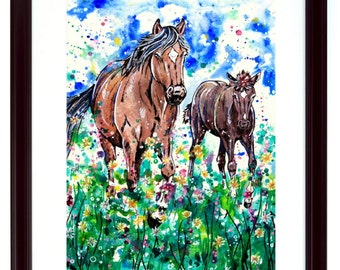 Mare and Foal - Horses Art Print