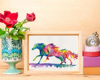 Watercolour Horse Art Print - Playtime