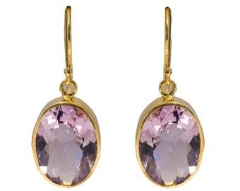 Amethyst Earrings - Sterling Silver Gilded