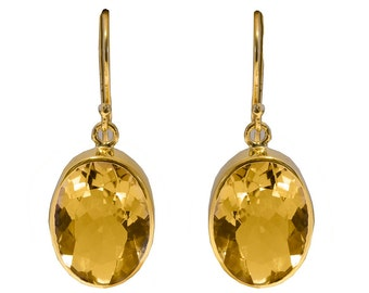 Gorgeous Gilded Sterling Silver Citrine Oval Drop Earrings