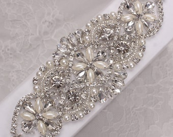 Beaded Sew on or Iron on diamante crystal Wedding Bridal Belt and Sashes Rhinestone Pearl Applique Patches