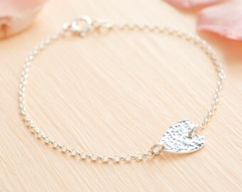 Silver Heart Bracelet - Delicate Heart Bracelet - Heart Chain Bracelet - Sterling Silver Bridesmaid Bracelet