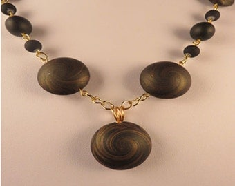Graceful Necklace Swirl Beads Polymer Clay Set Unique Design Statment Jewelry Gifts For Her Black & Gold Bracelet/Earring-Necklace Birthday