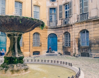 Aix En Provence/French Fountain/Ancient Fountain/Colourful French Buildings/Aix En Provence Photography/Provence Courtyard/Provence Doors