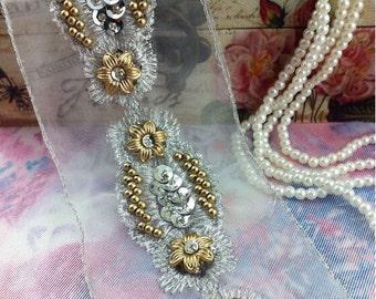 "1 yard 3.5cm 1.37"" wide gold beads sequins tapes bridal wedding dress tulle lace trim ribbon 958kfk free ship"