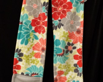 Fleece Pocket Scarf - Flowers - Pink and Yellow