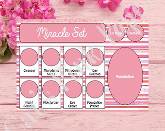 Tray Inserts | Pink Striped | Miracle Set | Glamour Set