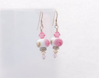 Lampwork bead earrings white with pink and gold.