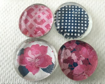 Set of Four Paper Magnets (Pink/Navy)