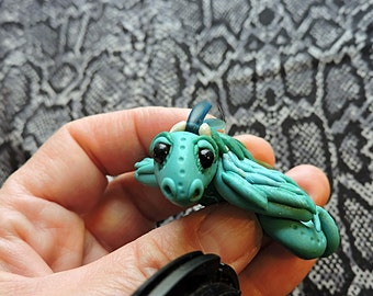 Whimsical OOAK Baby Dragon Aqua Blue Polymer Clay Figurine