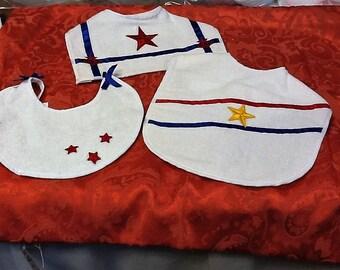 PRICE REDUCED A Set of Three Handmade Patriotic Bibs