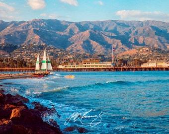 Santa Barbara Wharf Mountains and Harbor