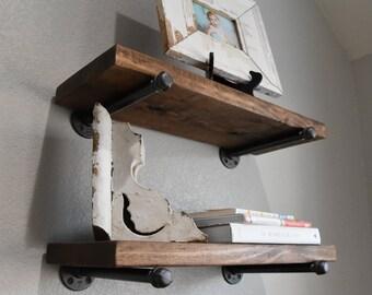 "3 shelf combo - 7.25"" Depth Industrial Floating Shelves, Rustic Shelf, Wood and Pipe Shelf, Kitchen and Bathroom Wall Shelves"